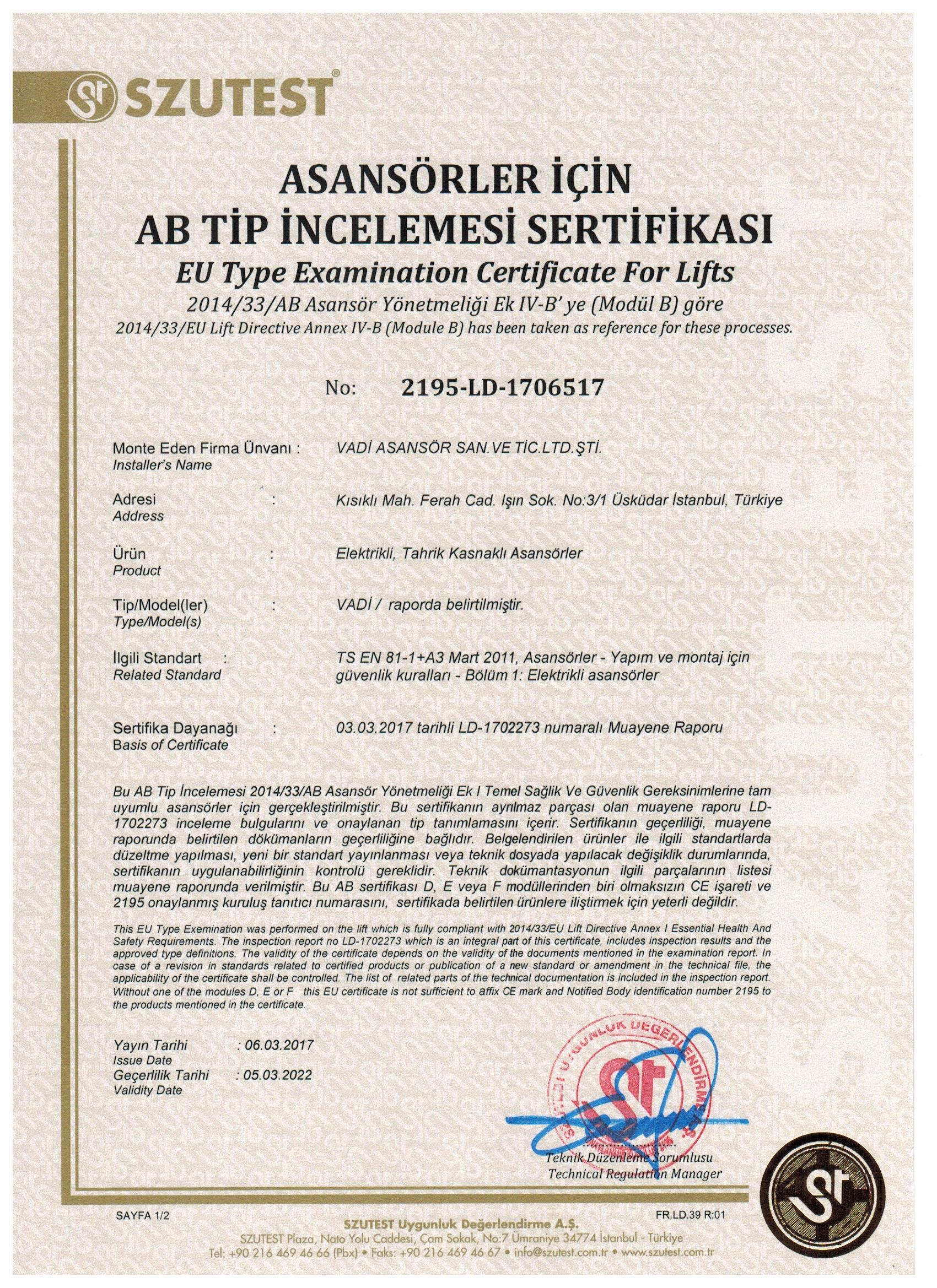 ASANSÖRLER İÇİN AB TİP İNCELEME SERTİFİKASI 1. 001